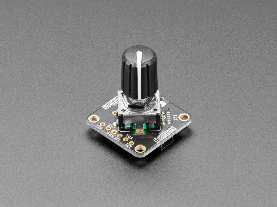 Angled shot of rotary knob on an Adafruit Rotary Encoder.