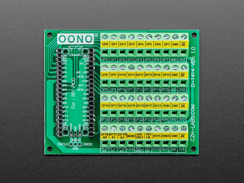 Top view of Screw Terminal Block Breakout Module Board for Raspberry Pi Pico.