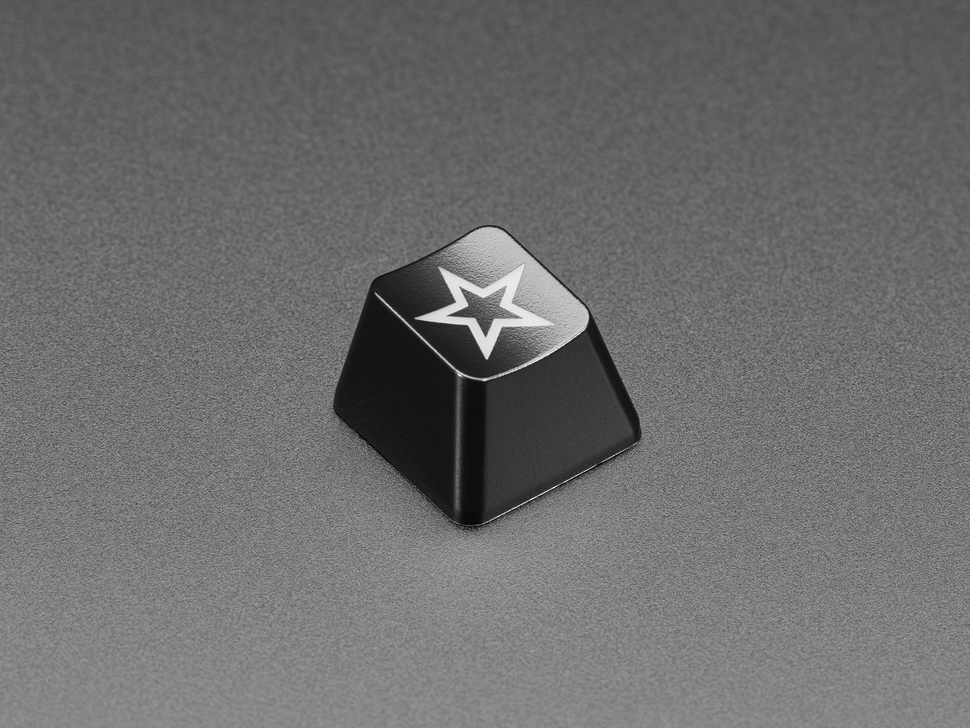 Angled shot of etched Zener Star R4 keycap.