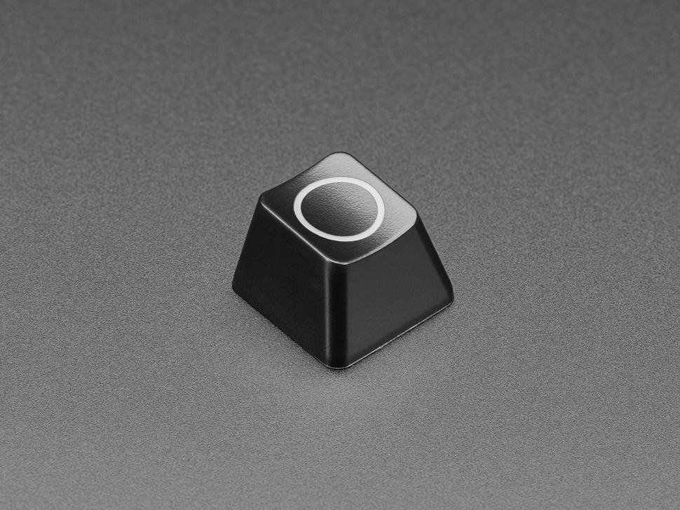 Angled shot of Etched Glow-Through Zener Circle R4 Keycap.