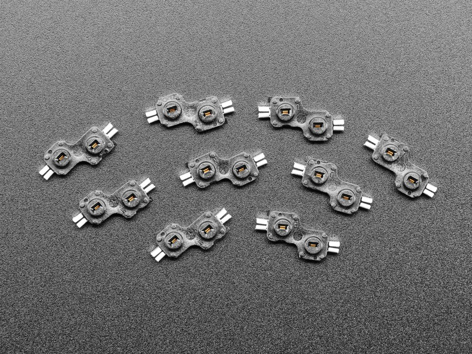 Top view of ten Choc switch sockets.
