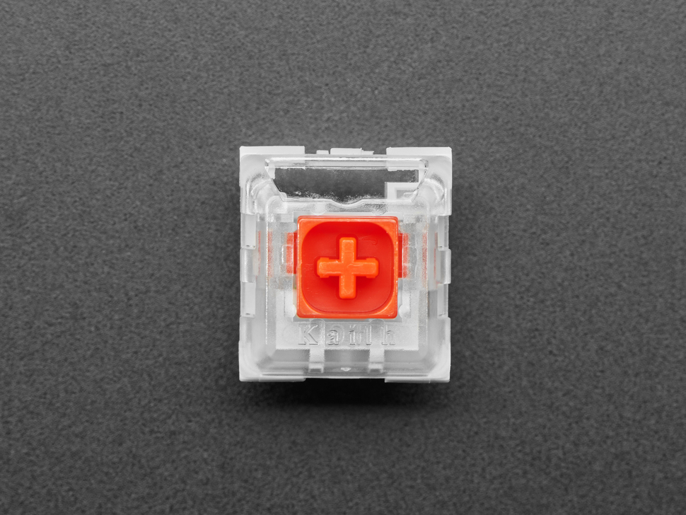 Top single shot of 12 pack Red Kailh Mechanical Key Switches