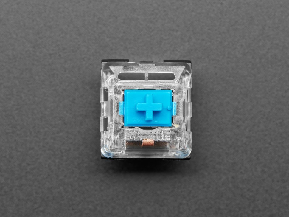 Top shot of 12 pack Blue Kailh Mechanical Key Switches