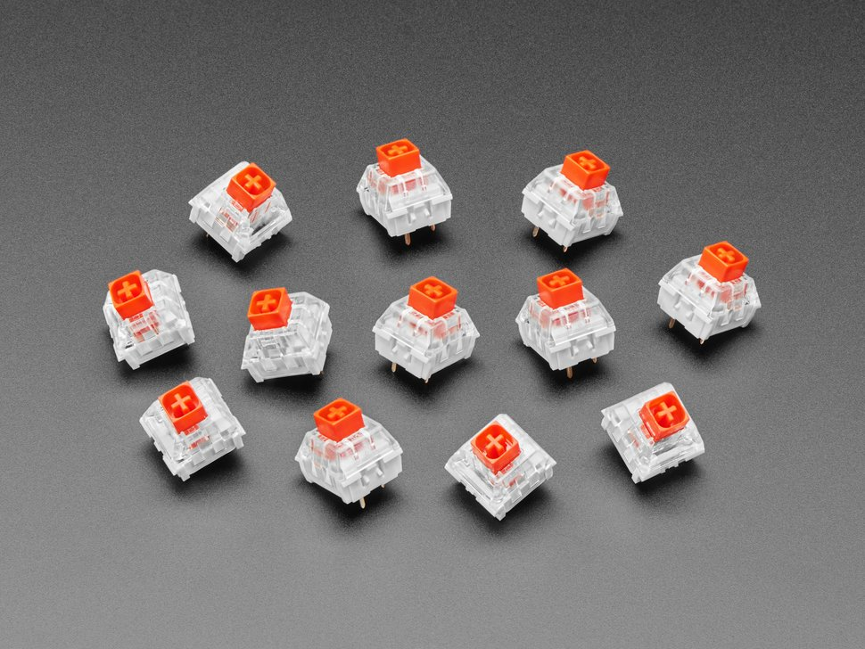 Top view of 12 red kailh key switches.