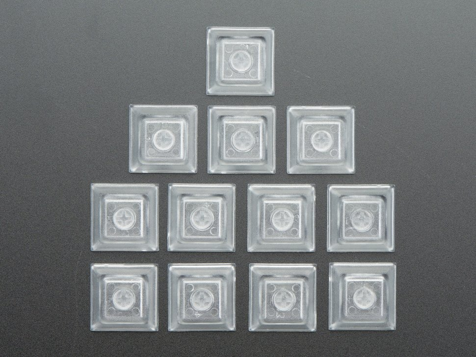 Top view of 12 clear keycaps.