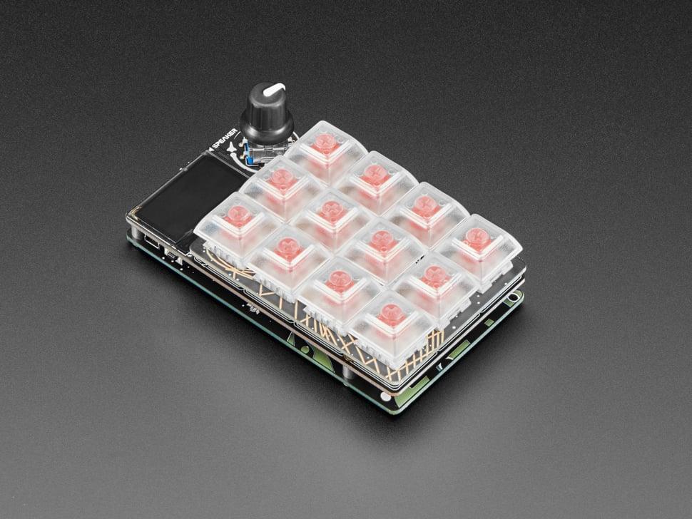 Angled shot of un-lit assembled MacroPal keypad.