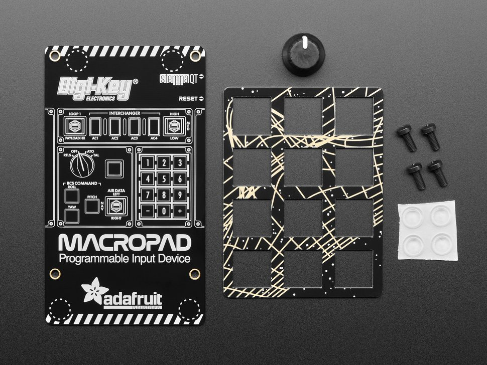 Top view of add-on pack for MacroPad including plates, rotary, and hardware.