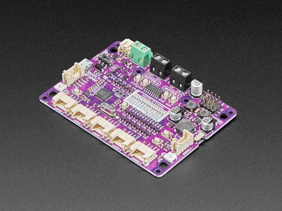 Angled shot of Maker Pi RP2040 board.