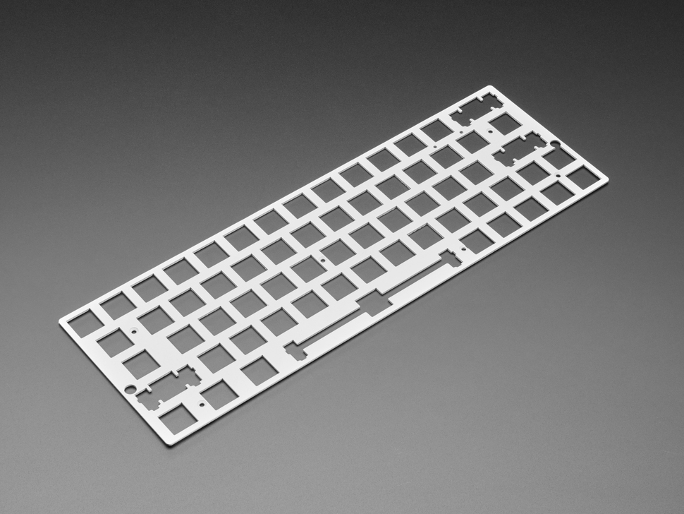 Angled shot of Silver Anodized Metal 60% / GH60 Keyboard Shell Plate.