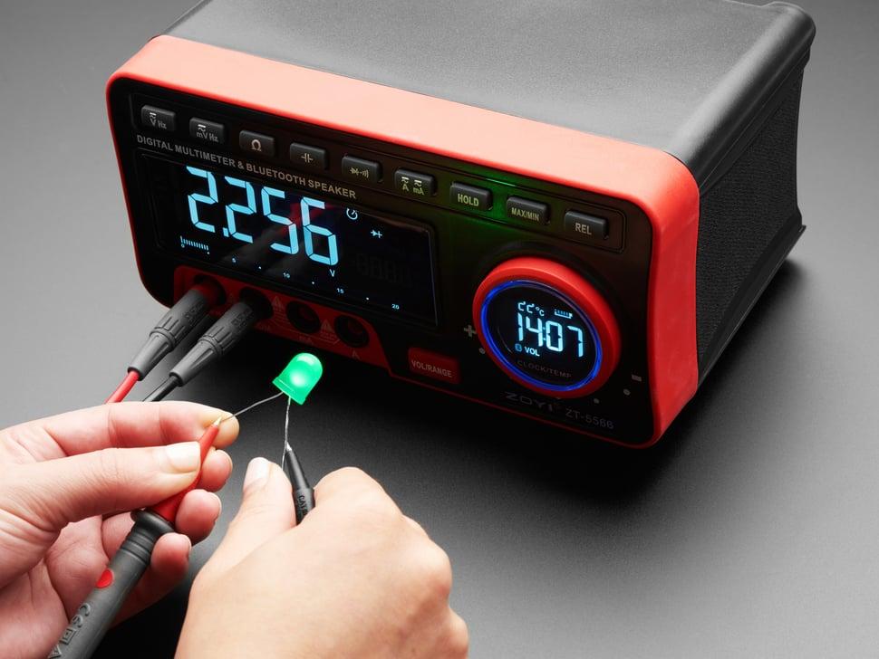 Multimeter measuring an LED.