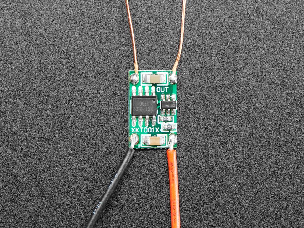 Top view of PCB of 5V Inductive Coil Wireless LED kit.
