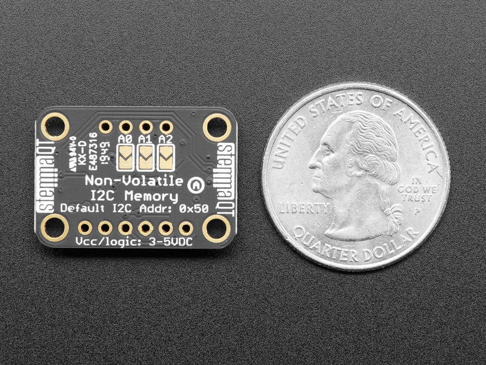 Bottom of breakout board next to US Quarter for scale.