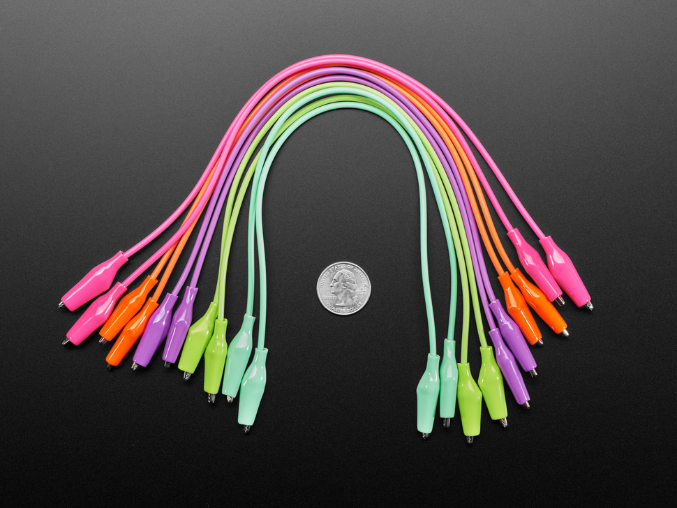 """ten 13"""" long colorful alligator test clips next to US quarter for scale."""
