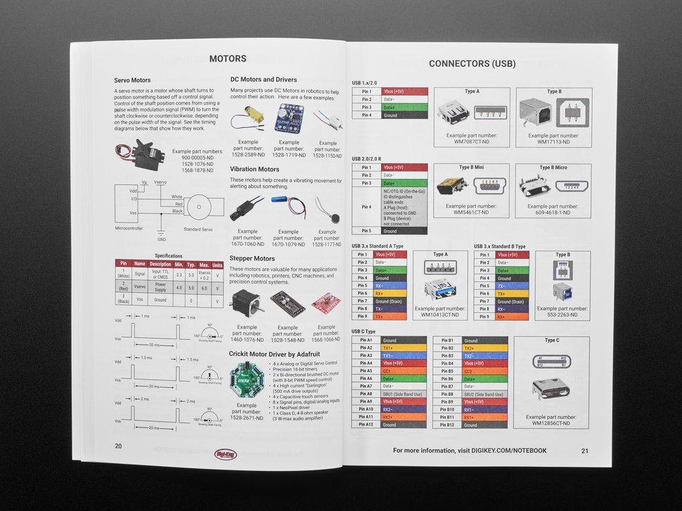 Opened handbook featuring technical pages of parts and components.