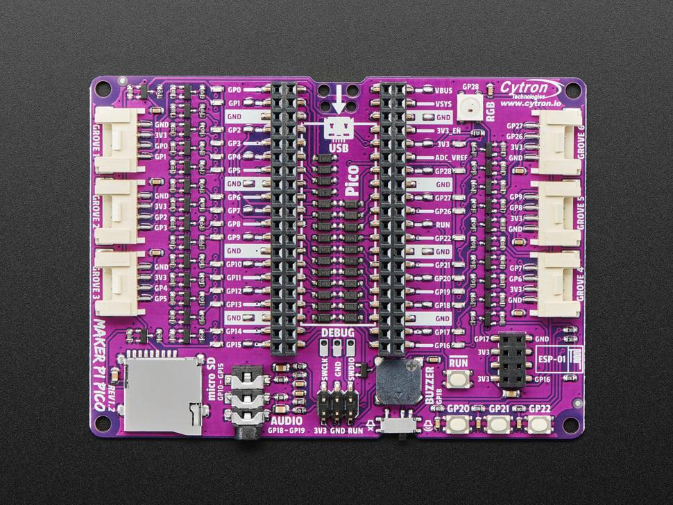 Top view of Maker Pi Pico board.