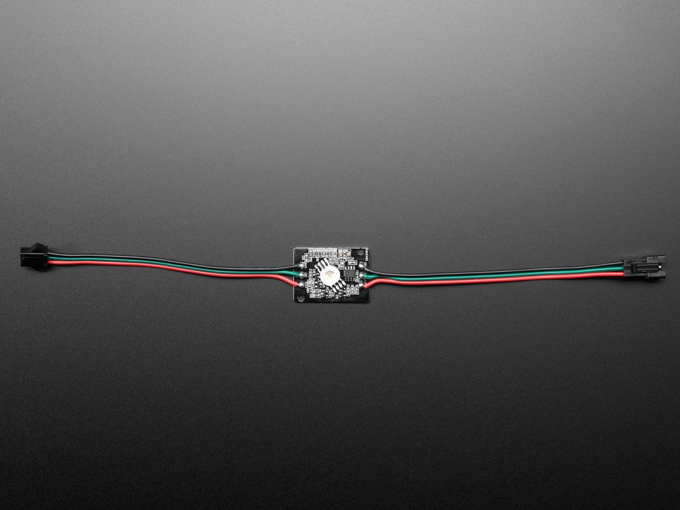 Top view of Ultra Bright 4 Watt Chainable NeoPixel LED fitted with two JST-SM cables.
