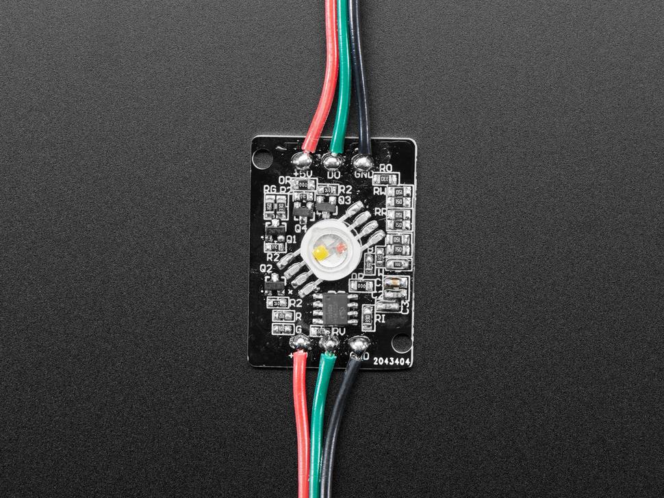 Close-up of Ultra Bright 4 Watt Chainable NeoPixel LED PCB.