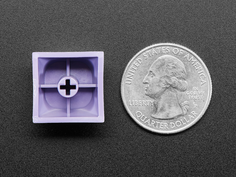 Back of purple keycap next to US quarter for scale.