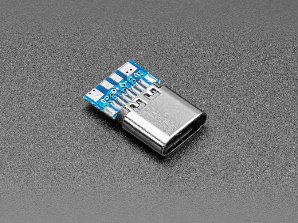 Angled shot of USB C socket breakout.