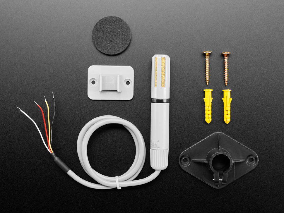 Top view of AM2315C sensor along with mounting kit contents.