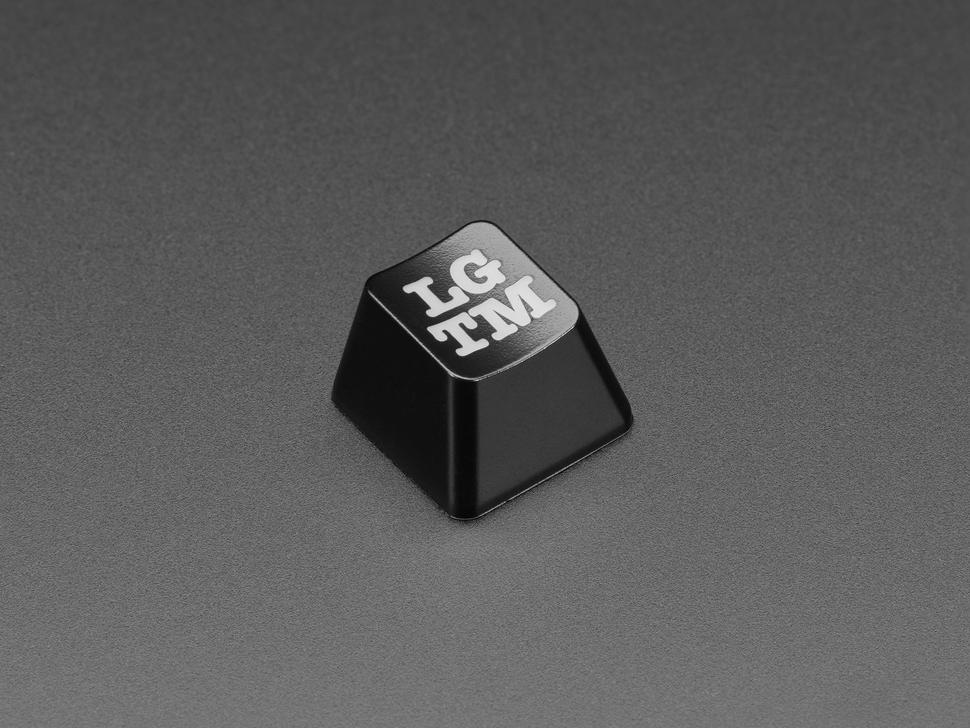 Angled shot of LGTM keycap.