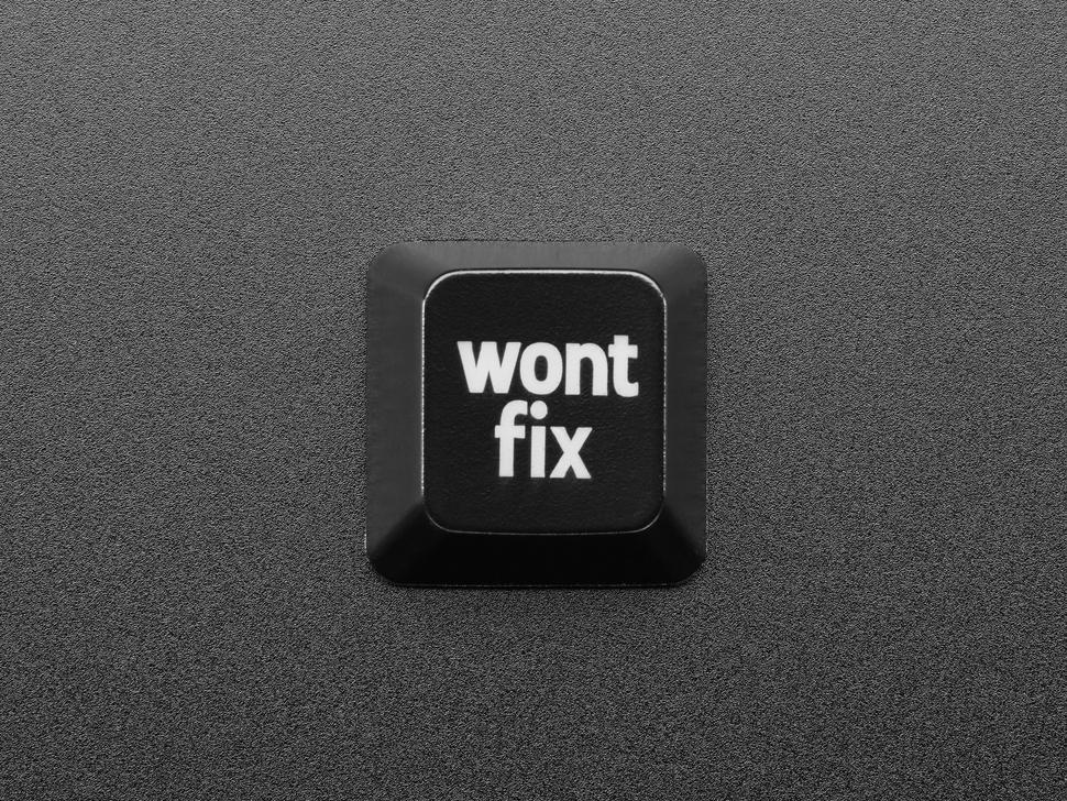 Top view of wontfix keycap.