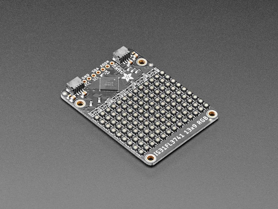 Angled shot of Adafruit 13x9 PWM RGB LED Matrix Driver.