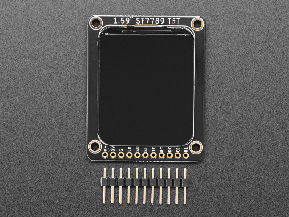 """Top view of 1.69"""" 280x240 Round Rectangle Color IPS TFT Display above a piece of 11-pin header."""