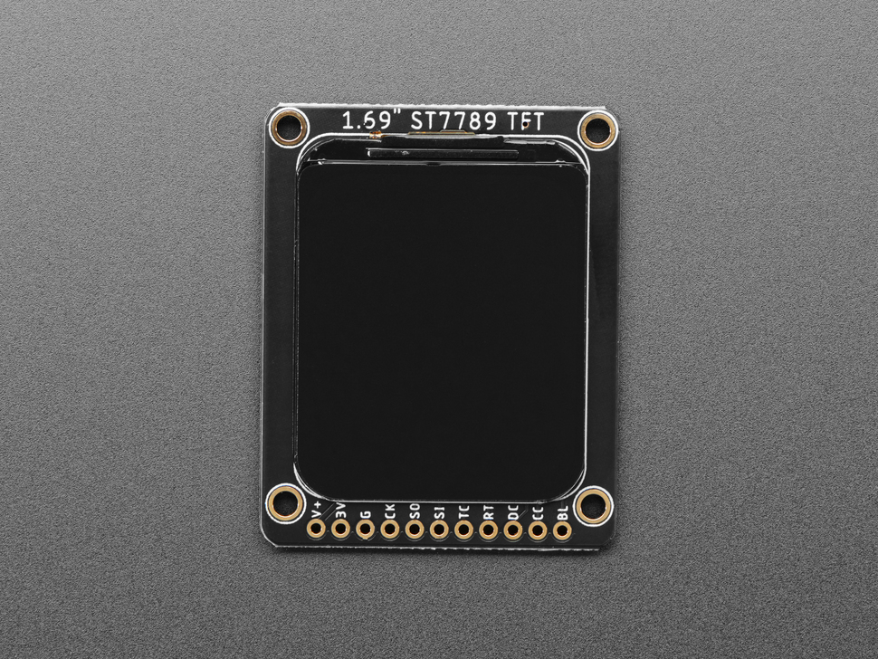 """Top view of 1.69"""" 280x240 Round Rectangle Color IPS TFT Display."""