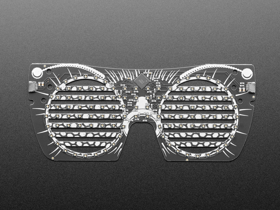 Top view of owl eyeglass PCB.