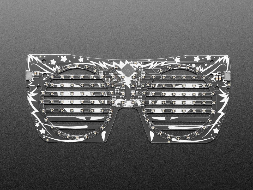 Top view of cat eyeglass PCB.
