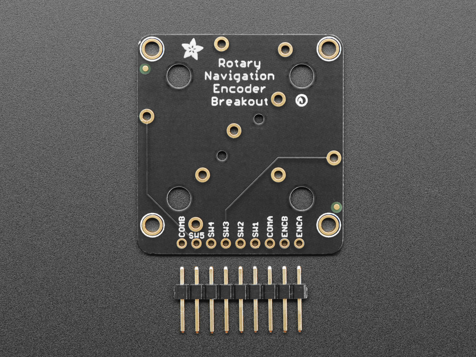 """Top view of Rotary Navigation Encoder Breakout above a 10-pin 0.1"""" header."""