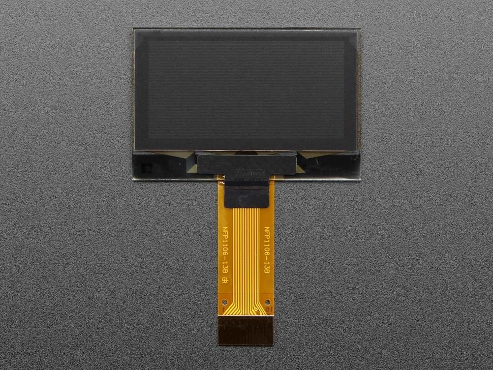 "Top view of 1.3"" OLED display module."
