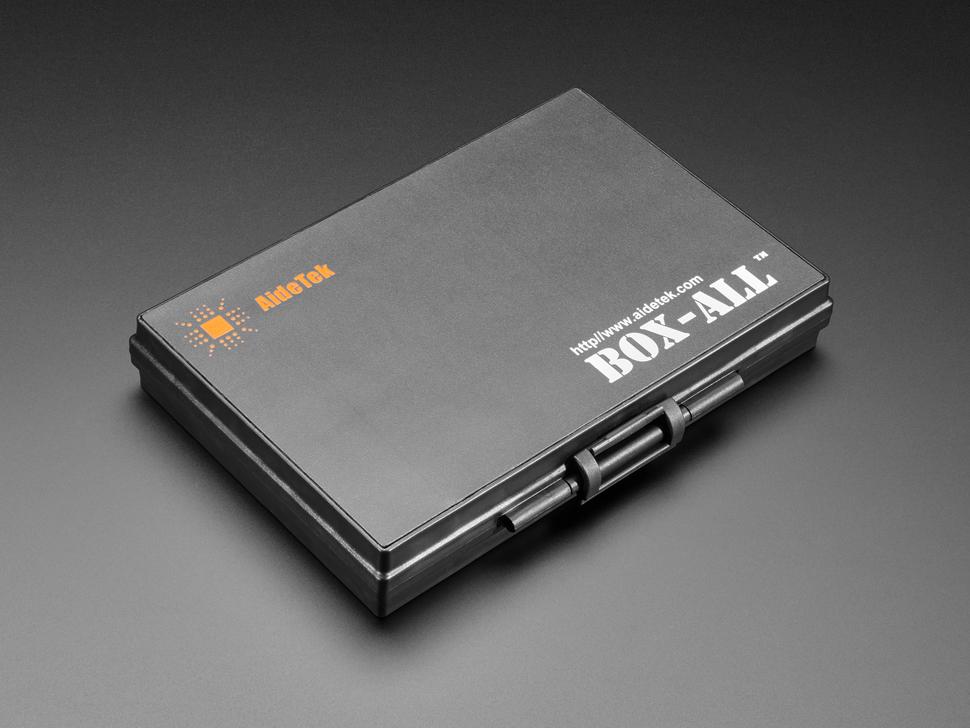 Angled shot of shut SMD storage black box.