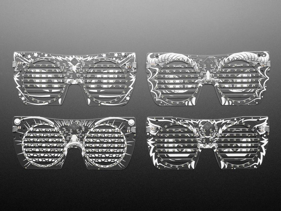 Top view shot of 4 PCB eyeglass masks.