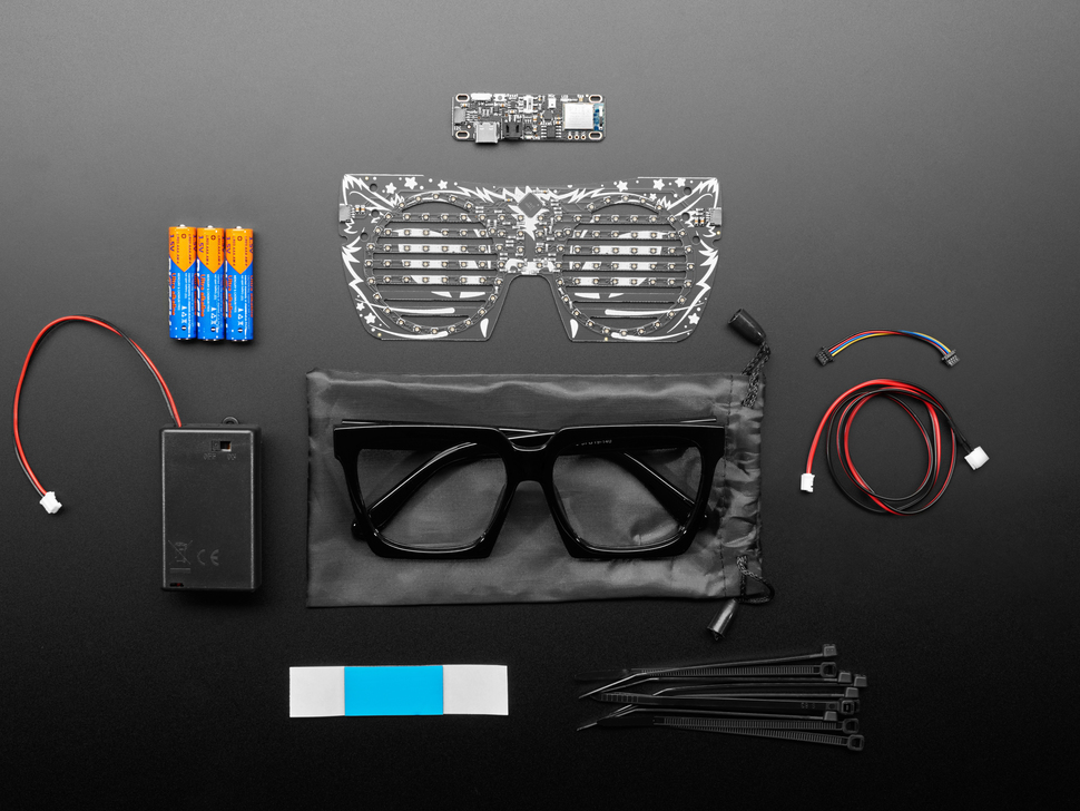 Top view of kit contents for AdaBox020 LED Glasses