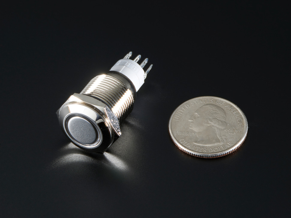Rugged Metal Pushbutton with White LED Ring - 16mm White Momentary