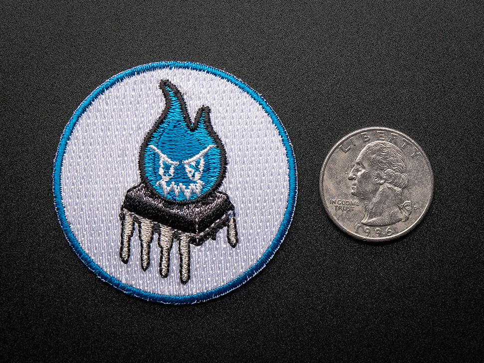 Sparky the Magic Blue Smoke Monster - Skill badge, iron-on patch