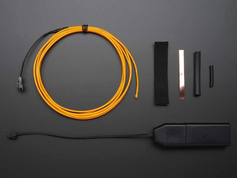 EL wire starter pack - Yellow 2.5 meter (8.2 ft)