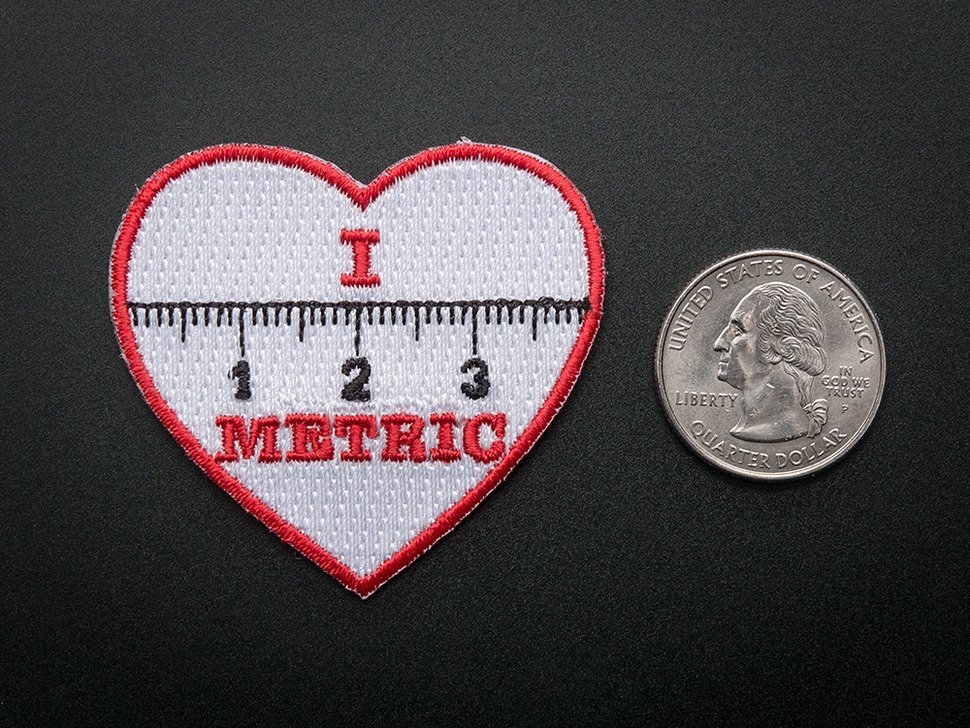 "I ""heart"" METRIC - Skill badge, iron-on patch"