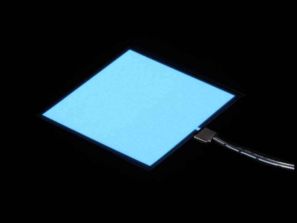 Lit square of white EL sheet