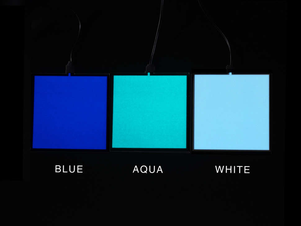 Comparison of lit EL sheets in blue, aqua and white