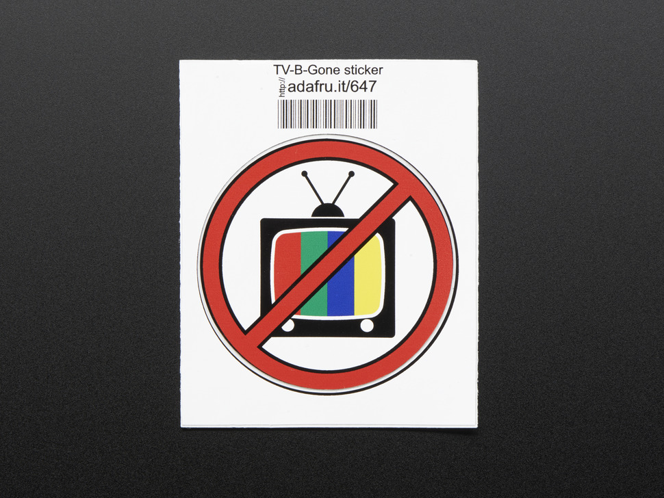 Circular sticker with an image of a television crossed out with red line. Mounted on white paper with barcode