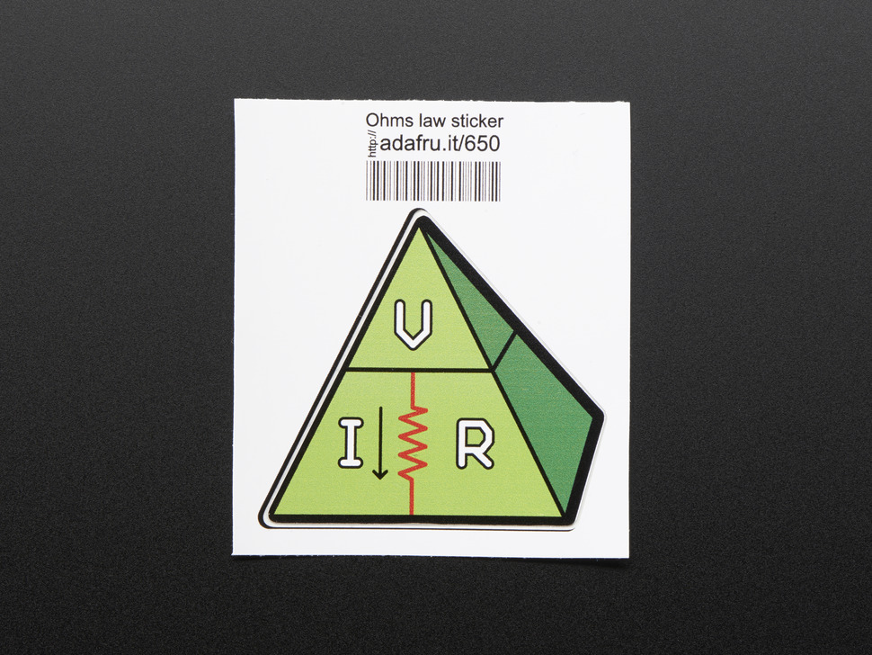 Triangle-ish shaped sticker of a green pyramid with the letters V, I, and R in white, with a red zigzag resister, and trimmed in black. Mounted on white paper with barcode.