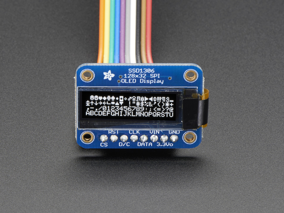 "Monochrome 0.91"" OLED module with white text"