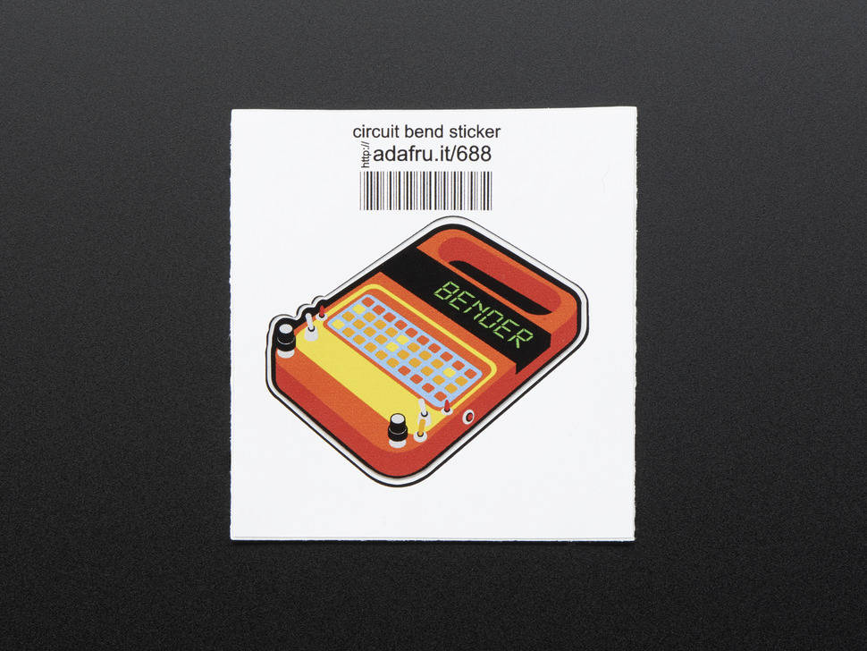 Rectangularish sticker in the shape of analog synthesizer in orange with many yellow and red buttons, dials, switches and a black screen with the word BENDER in green 8-bit font. Mounted on white with barcode