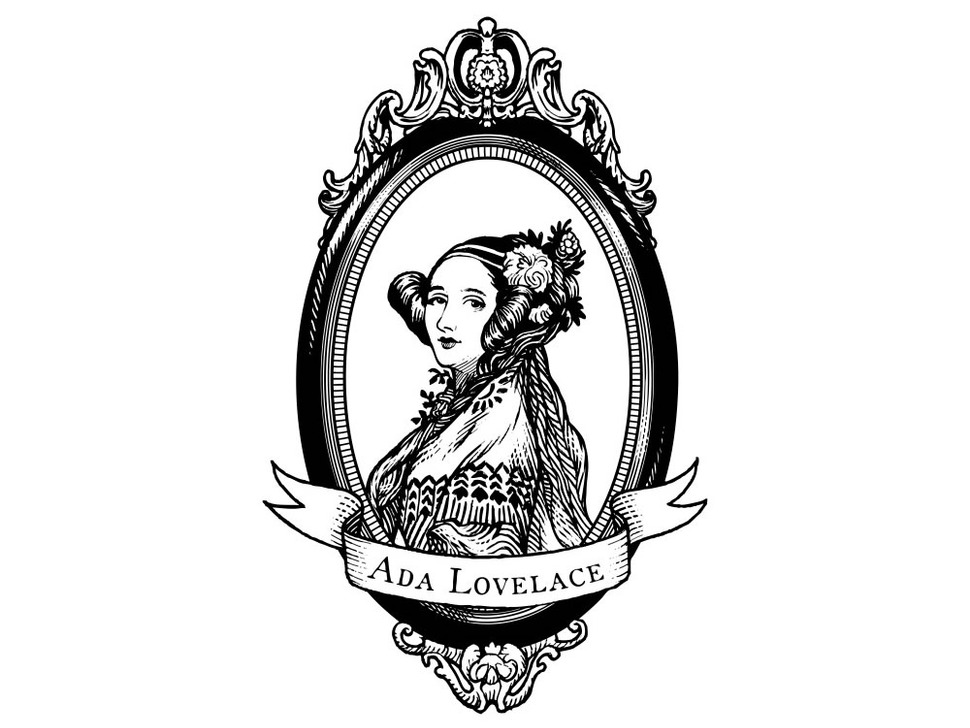 ada lovelace  large  oval black and white