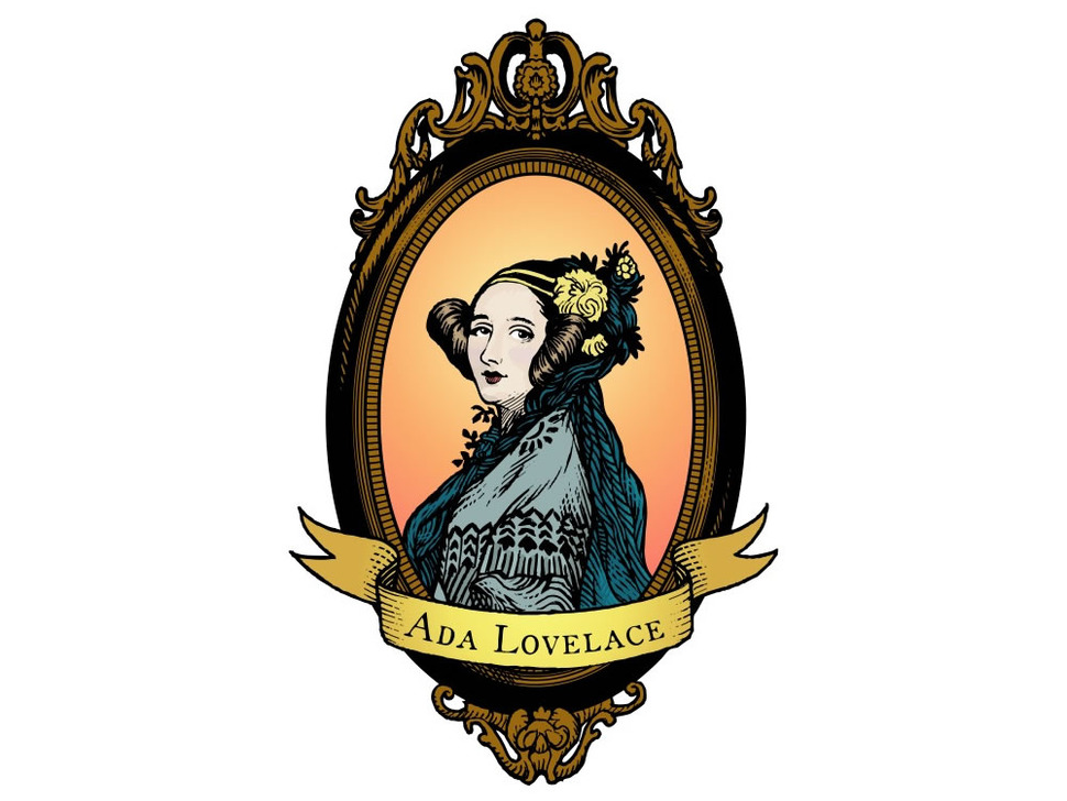 Ada Lovelace, large, oval, color - Sticker!