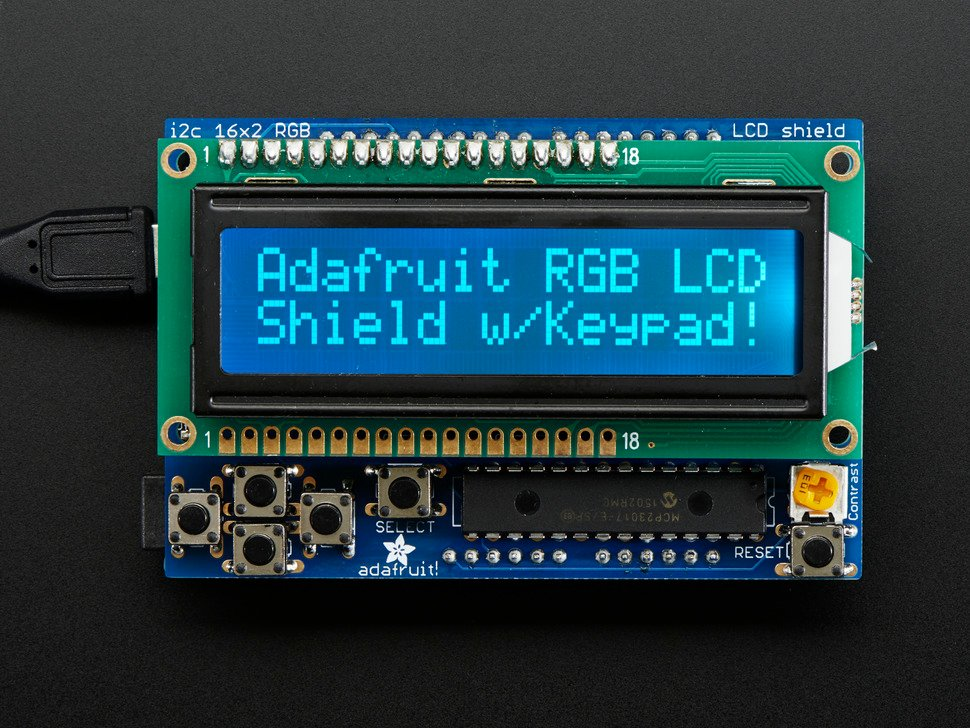 RGB LCD Shield Kit w/ 16x2 Character Display - Only 2 pins used! - NEGATIVE DISPLAY