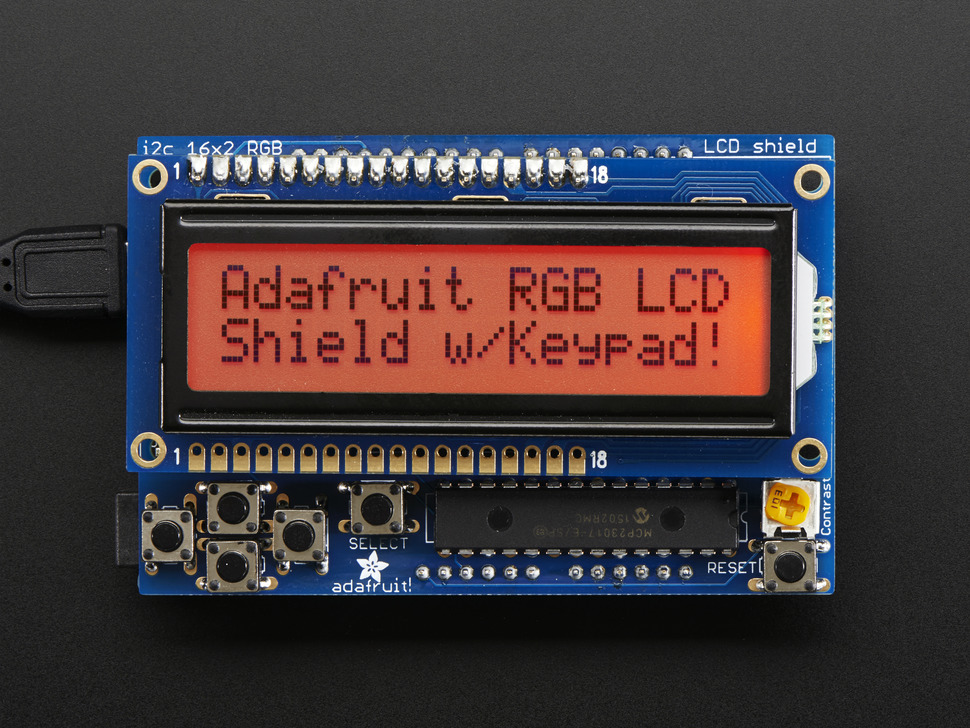 RGB LCD Shield Kit w/ 16x2 Character Display - Only 2 pins used! - POSITIVE DISPLAY